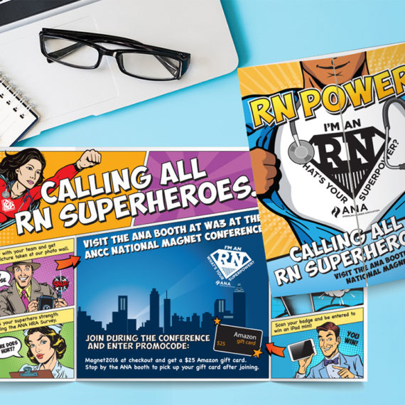 print graphic design superhero campaign