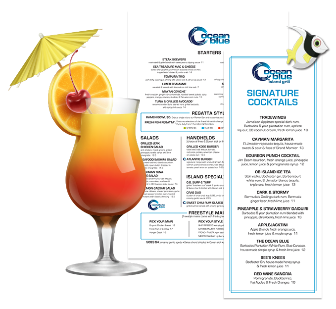 Menu Design for OceanBlue Loudoun