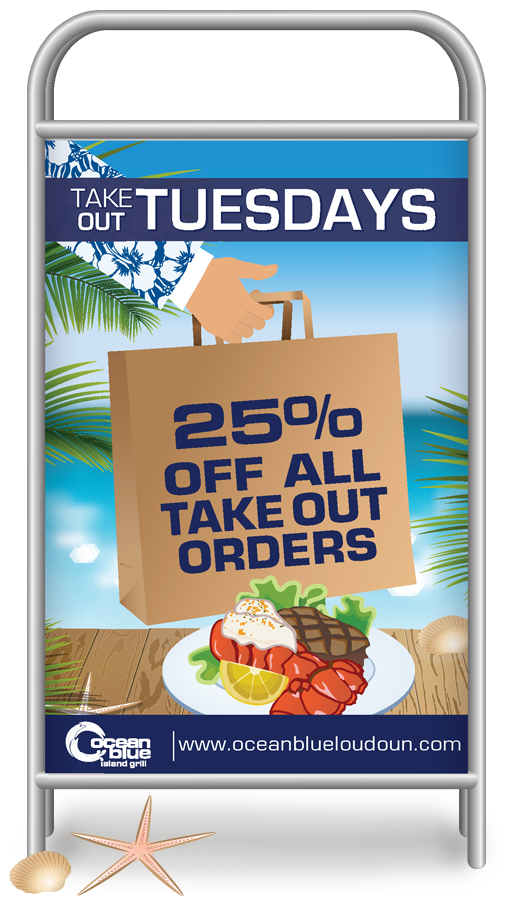 Sidewalk Sign Design for Promotions and Events, OceanBlue Loudoun
