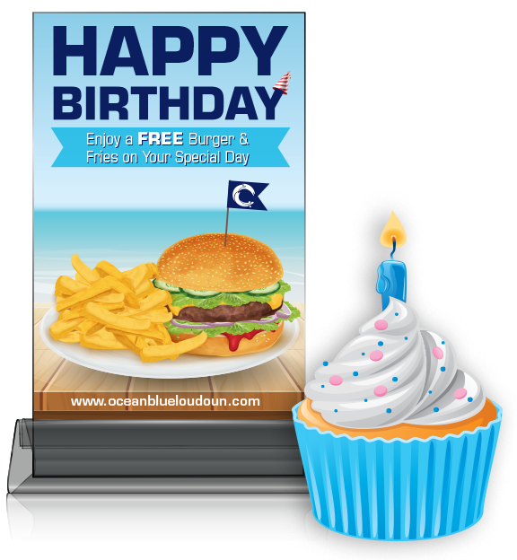 Happy Birthday Table Tent advertisement design