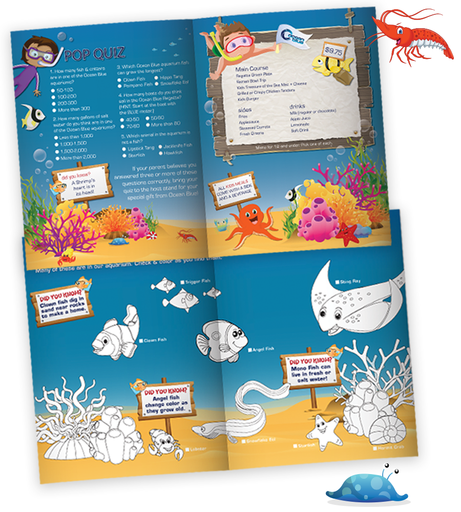 Kids Food and Restaurant Menu Design for OceanBlue Loudoun
