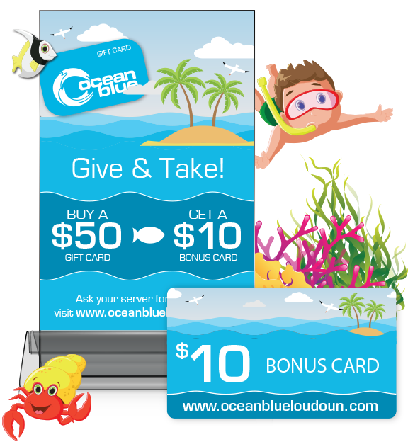 Tabletop Advertisement and bonus discount card Design for OceanBlue Loudoun