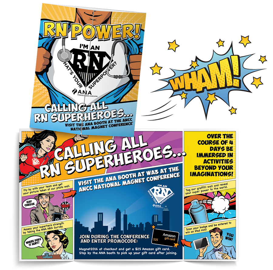 Superhero marketing printed graphic design of brochures