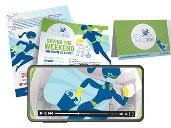 House Cleaning Heroes Flyer, Tent Card and Video